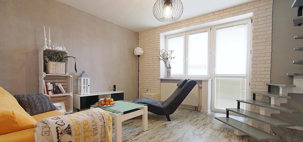 zdjęcie przedstawia salon w nowoczesnym apartamencie na sprzedaż w Tarnowie