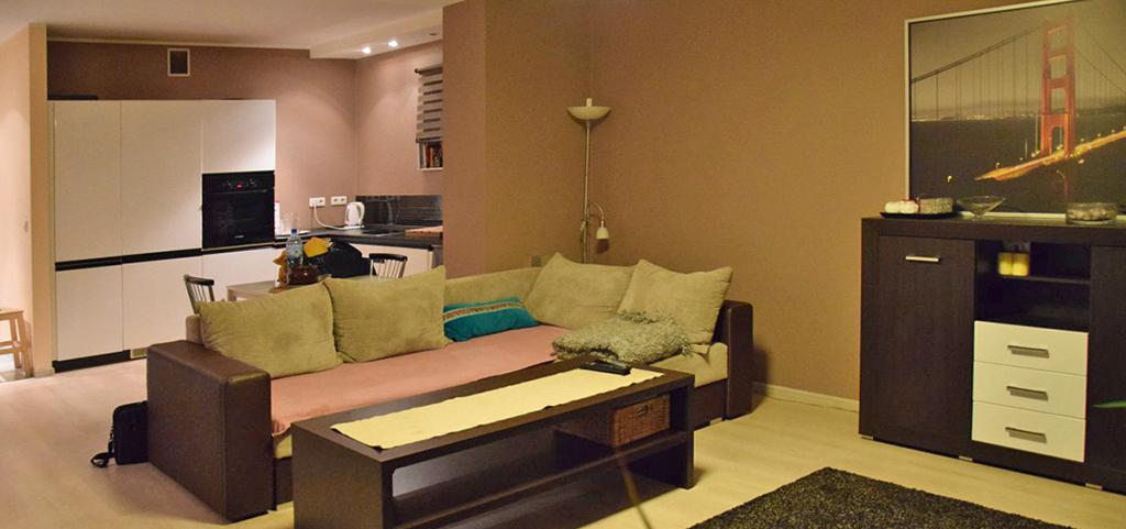zdjęcie przedstawia salon w apartamencie na sprzedaż w Katowicach