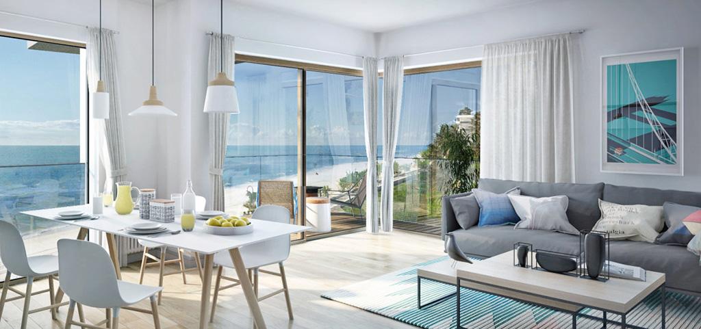 zdjęcie przedstawia nowoczesny salon w apartamencie na sprzedaż nad morzem