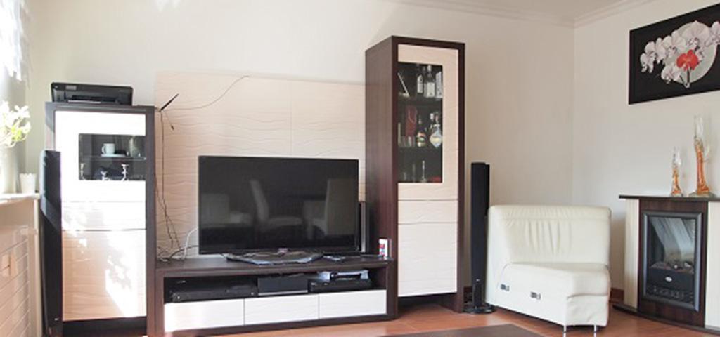 zdjęcie przedstawia luksusowo wyposażony salon w apartamencie do sprzedaży w Szczecinie