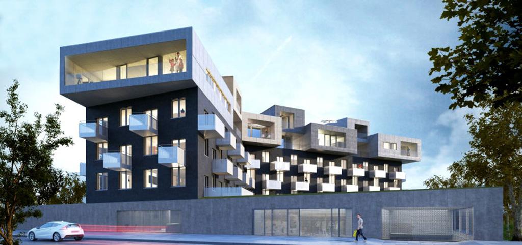 widok na nowoczesny apartamentowiec w Katowicach, w którym mieści się luksusowy apartament do sprzedaży