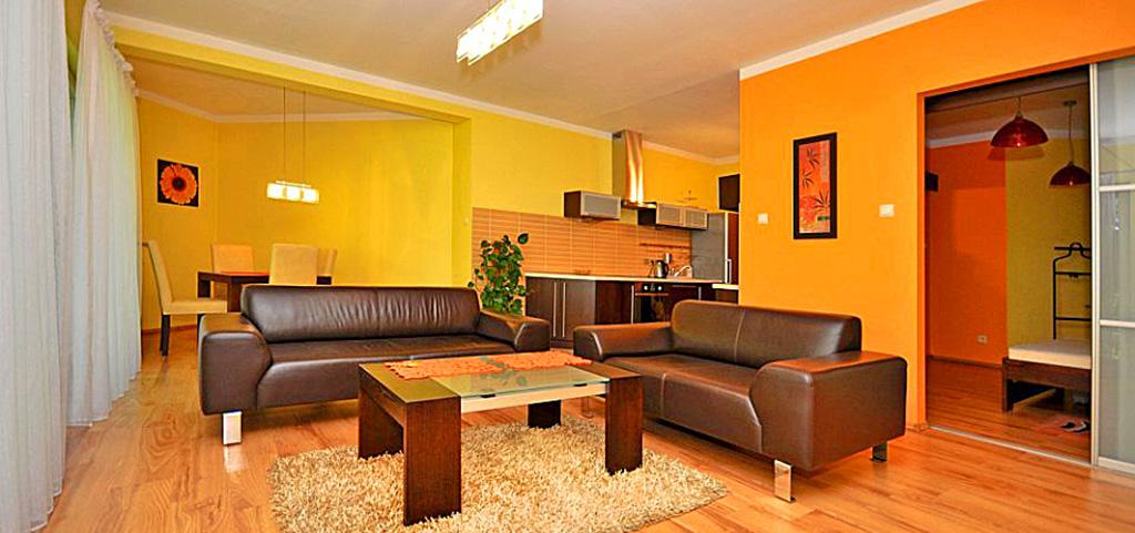 luksusowy salon w apartamencie na wynajem w Katowicach