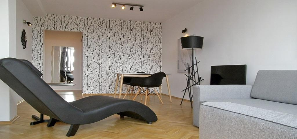 zdjęcie przedstawia salon w apartamencie na wynajem w Katowicach