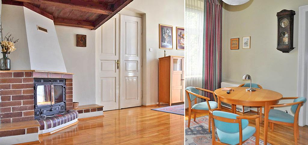 na zdjęciu salon z kominkiem w luksusowym apartamencie do sprzedaży w Częstochowie