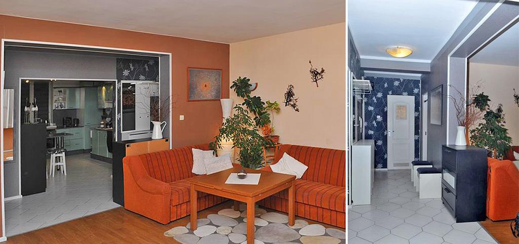 na zdjęciu salon i aneks kuchenny na drugim planie w apartamencie do sprzedaży w Szczecinie