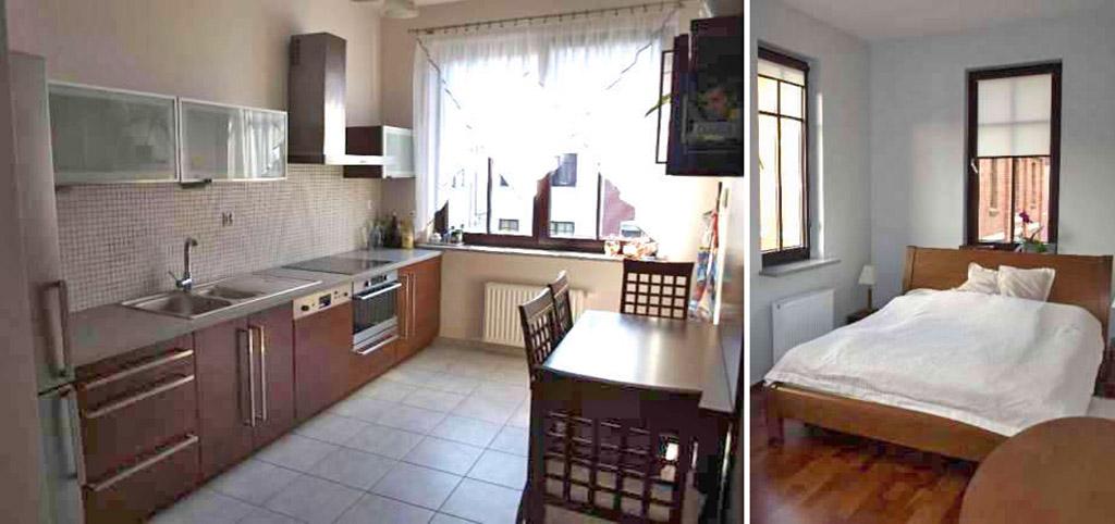 na zdjęciu ekskluzywnie urządzony aneks kuchenny oraz sypialnia w apartamencie do sprzedaży w Szczecinie