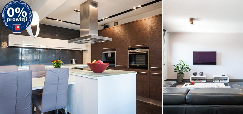 na zdjęciu ekskluzywny aneks kuchenny oraz fragment salonu w apartamencie do wynajęcia w Chorzowie