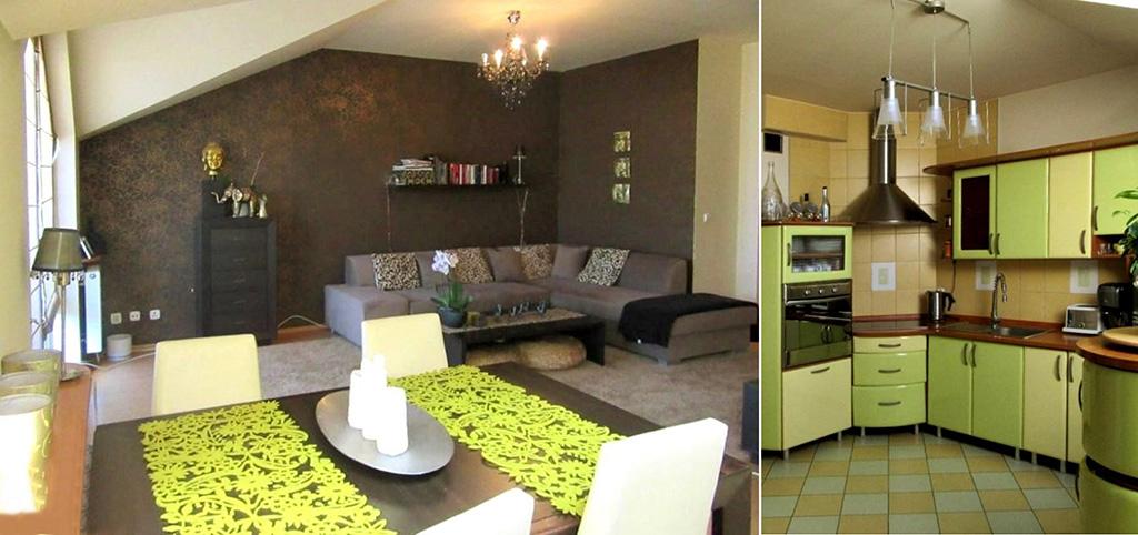 na zdjęciu salon oraz fragment kuchni w apartamencie do sprzedaży w Częstochowie