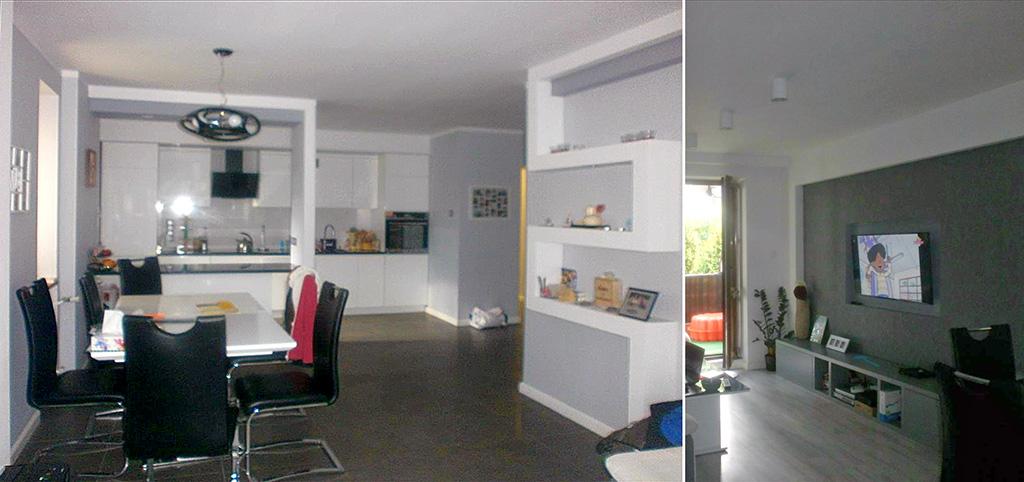 na zdjęciu salon oraz widok na aneks kuchenny w apartamencie do sprzedaży w Częstochowie