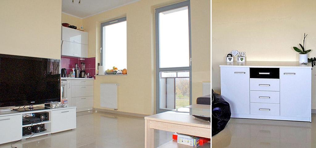 na zdjęciu salon w luksusowym apartamencie do wynajęcia w Głogowie
