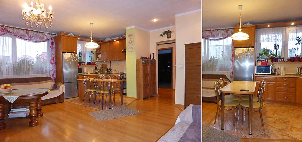 zdjęcie przedstawia salon oraz aneks kuchenny w apartamencie do wynajęcia w Kwidzynie