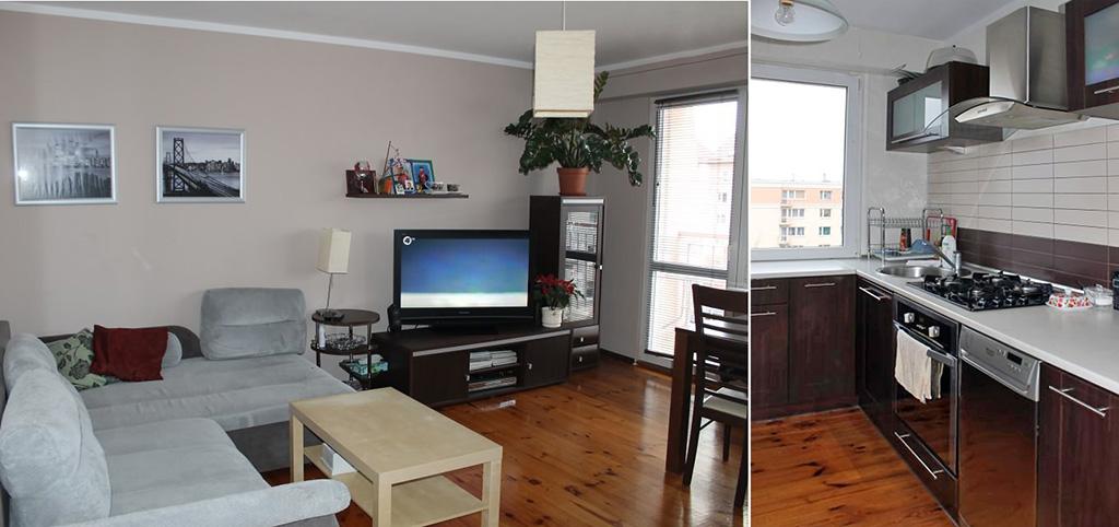 zdjęcie przedstawia luksusowy salon oraz fragment kuchni w apartamencie do sprzedaży w Olsztynie