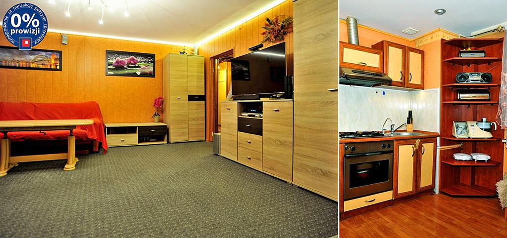 na zdjęciu salon oraz fragment kuchni w apartamencie do sprzedaży w Sosnowcu