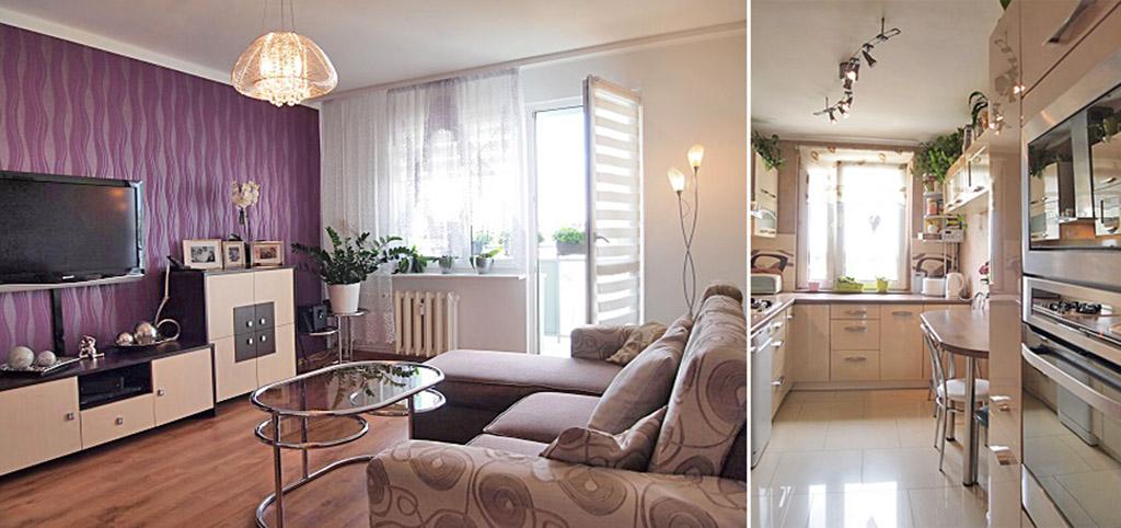 na zdjęciu salon oraz kuchnia w luksusowym apartamencie do sprzedaży w Szczecinie
