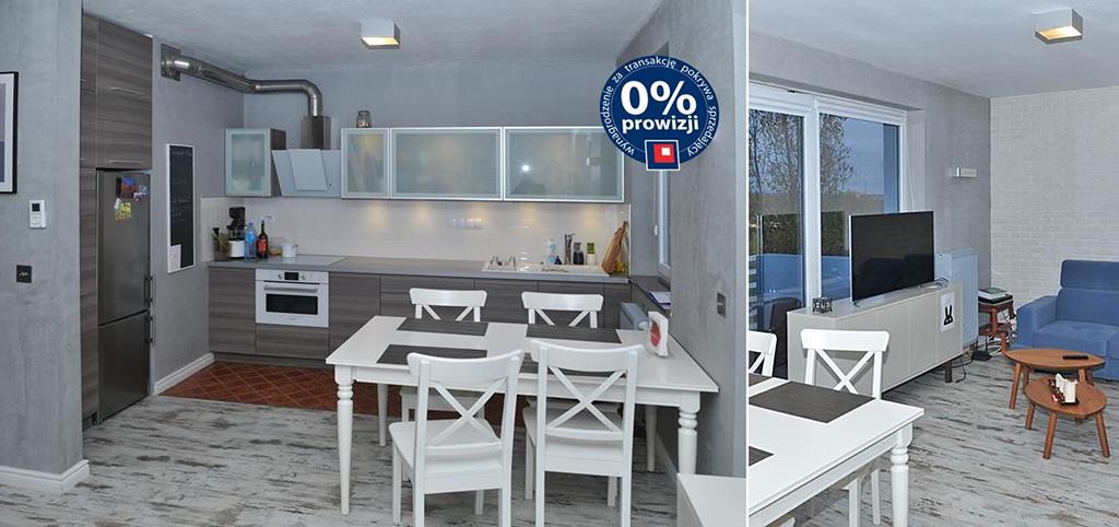 na zdjęciu salon oraz aneks kuchenny w apartamencie do sprzedaży w Szczecinie