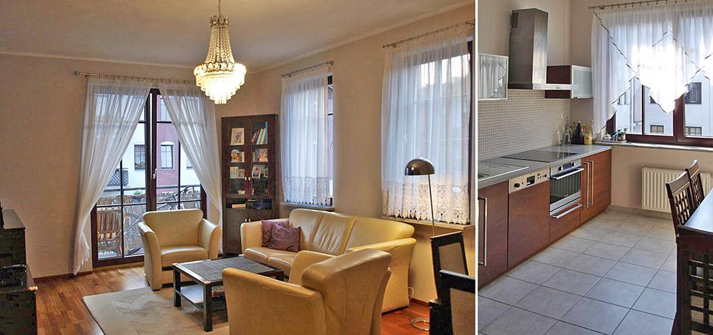 na zdjęciu salon oraz fragment aneksu kuchennego w apartamencie na sprzedaż w Szczecinie