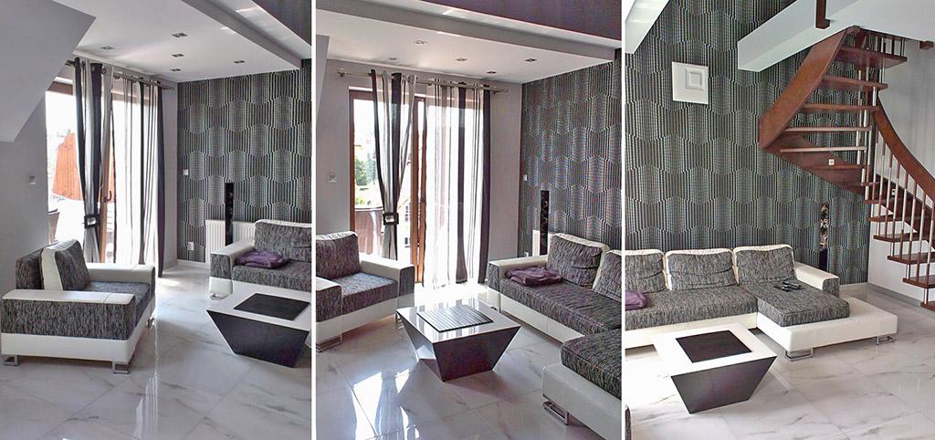 na zdjęciu różne ujęcia salonu w luksusowym apartamencie do sprzedaży w Szczecinie