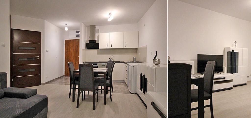 zdjęcie przedstawia aneks kuchenny w apartamencie do wynajęcia w Szczecinie