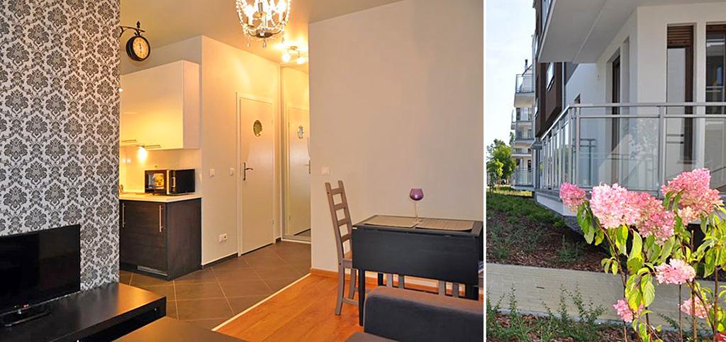 na zdjęciu salon oraz apartamentowiec, w którym mieści się luksusowy apartament do wynajęcia w Toruniu