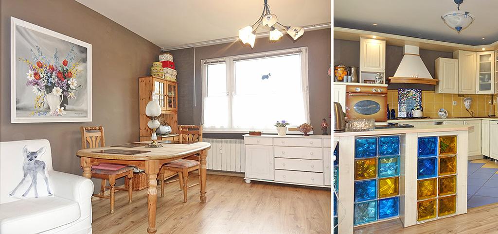 na zdjęciu salon oraz fragment kuchni w apartamencie do sprzedaży w okolicach Katowic