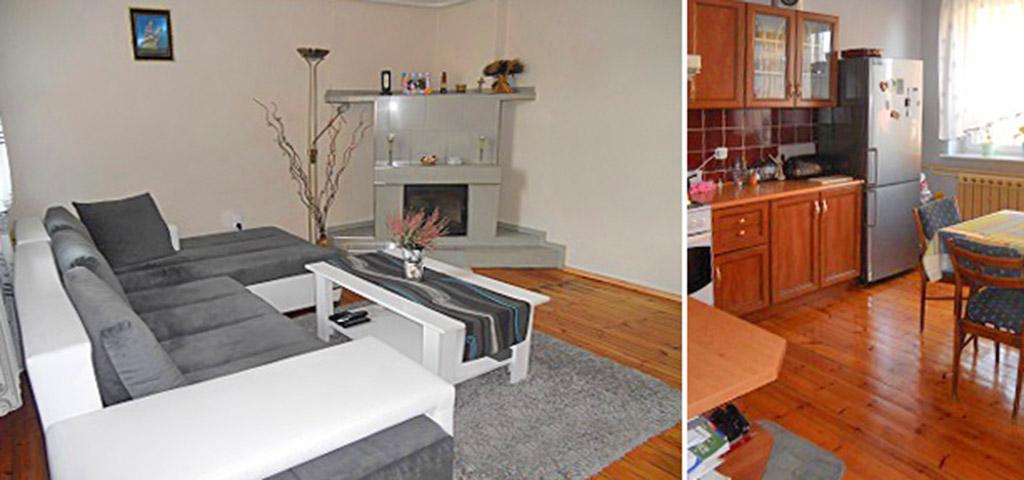 zdjęcie przedstawia salon z kominkiem w luksusowym apartamencie na sprzedaż w okolicy Gorzowa Wielkopolskiego