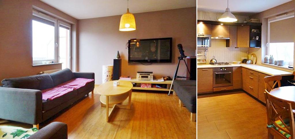 zdjęcie przedstawia salon i fragment aneksu kuchennego w apartamencie do wynajęcia w okolicy Wrocławia