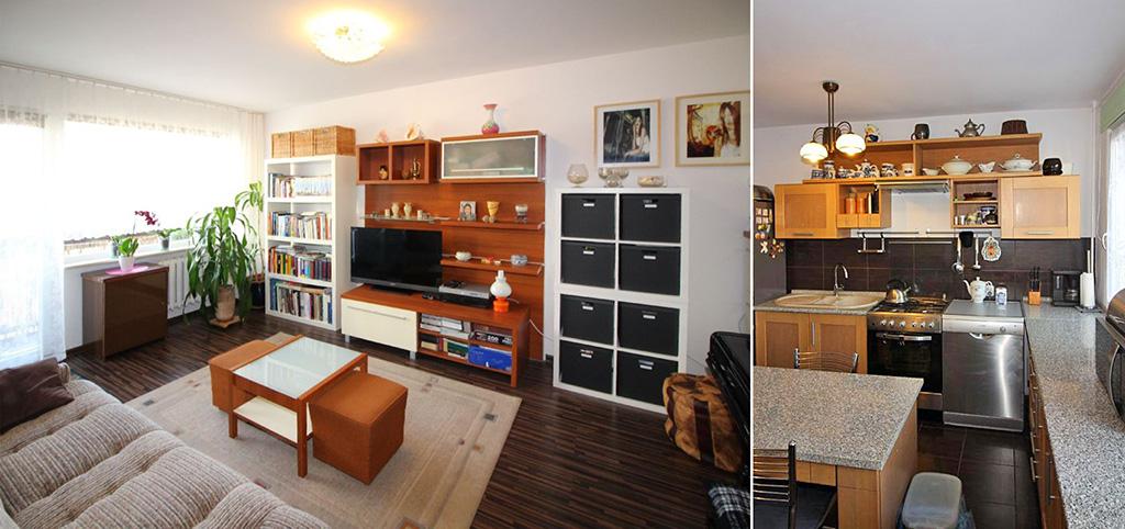 na zdjęciu salon oraz fragment kuchni w apartamencie do sprzedaży w Łodzi