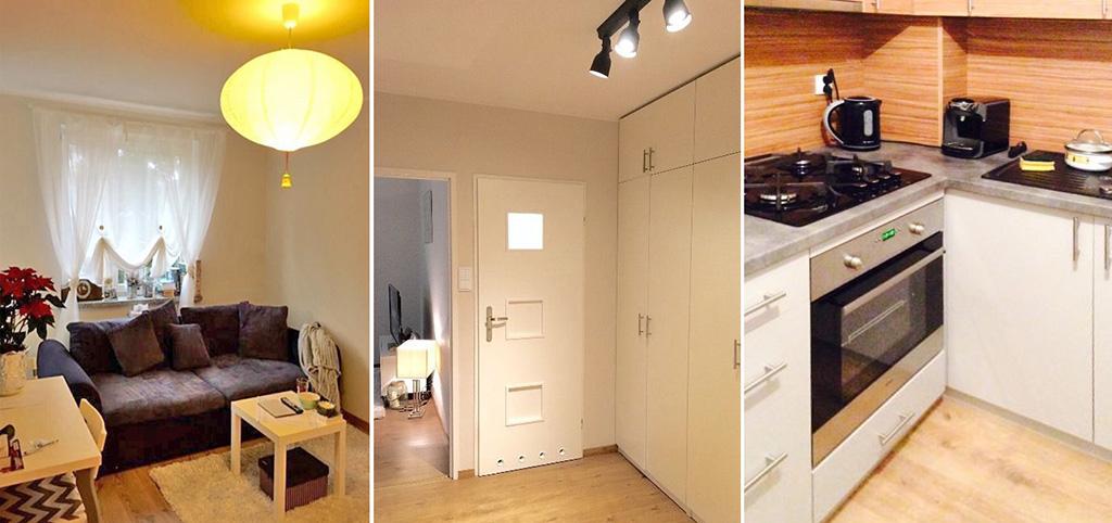 zdjęcie przedstawia salon, przedpokój i kuchnię w apartamencie do sprzedaży w Białymstoku