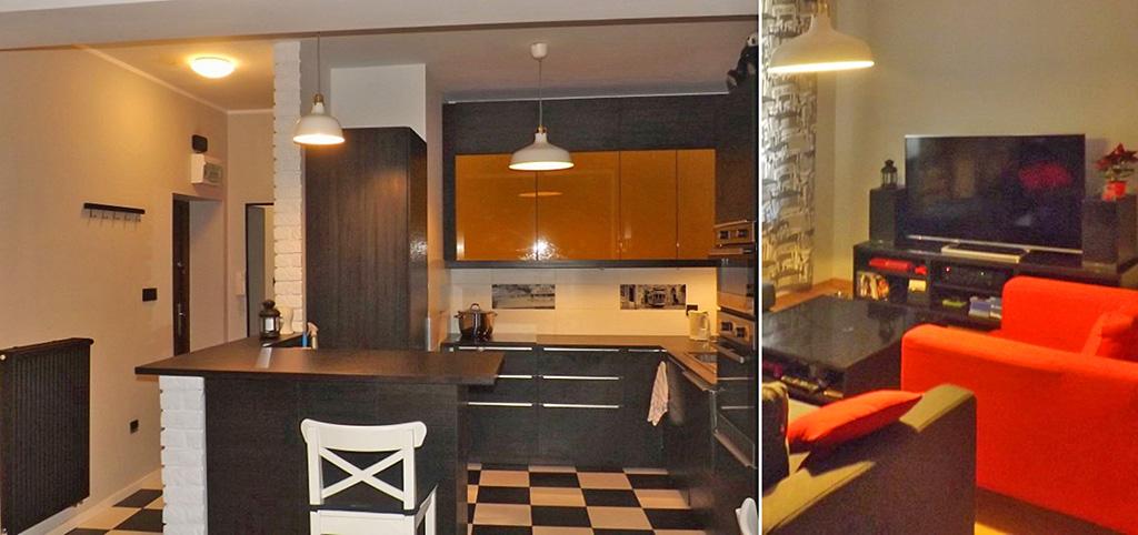 zdjęcie przedstawia aneks kuchenny oraz fragment salonu w apartamencie do wynajęcia w Katowicach
