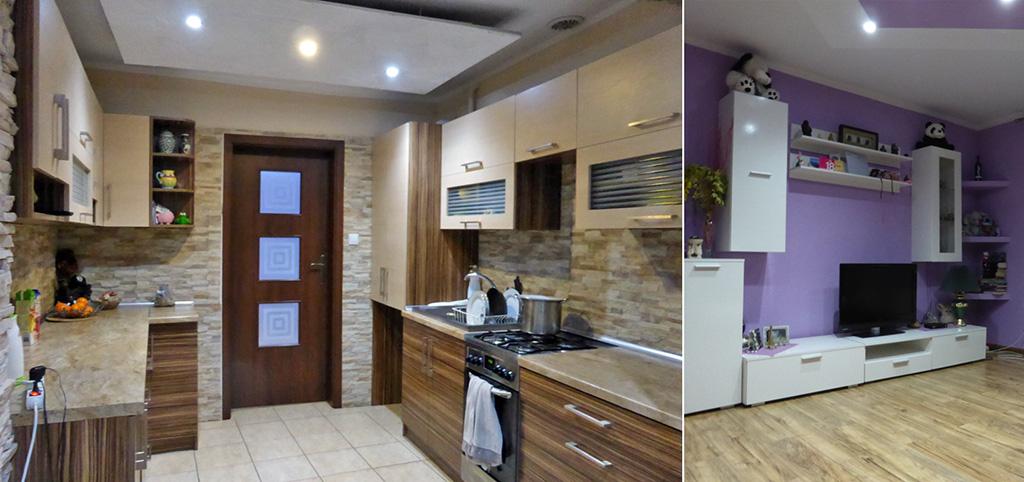zdjęcie przedstawai fragment salonu i aneks kuchenny w apartamencie do sprzedaży w Kwidzynie