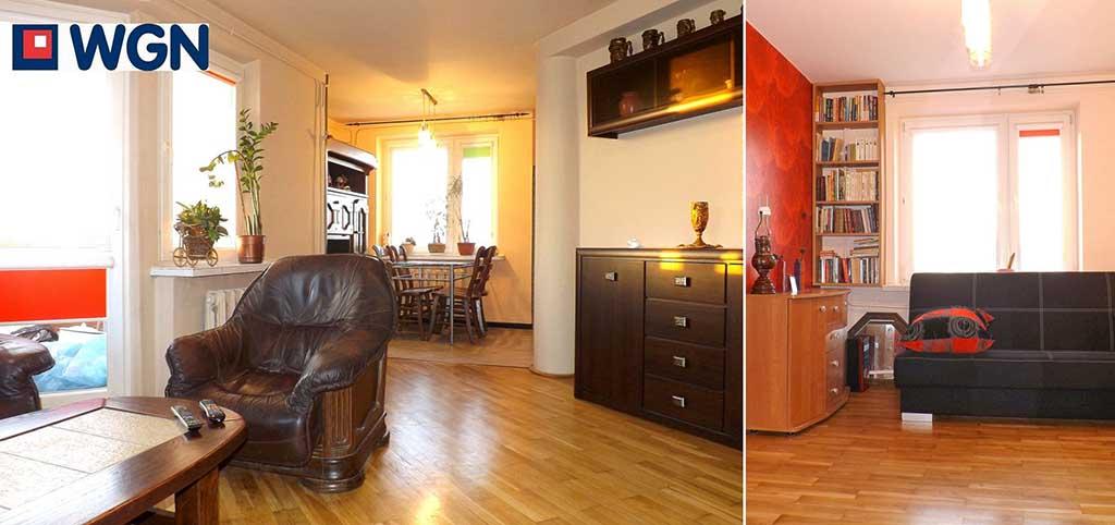 na zdjęciu salon w apartamencie do sprzedaży w Lublinie