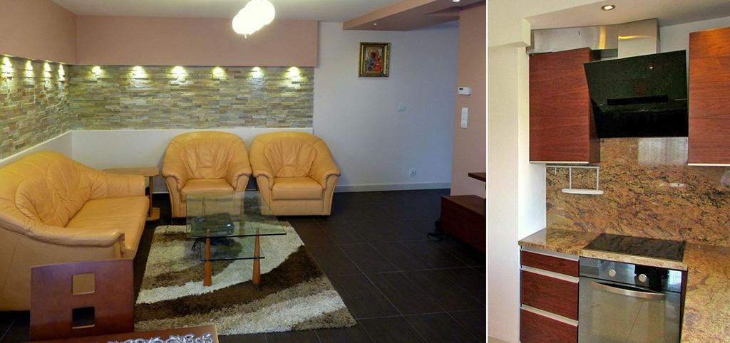 na zdjęciu salon oraz fragment aneksu kuchennego w apartamencie do sprzedaży w Rzeszowie