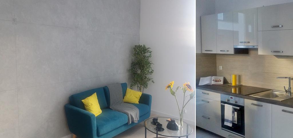 zdjęcie przedstawia fragment salonu oraz kuchni w apartamencie do sprzedaży w okolicy Olsztyna