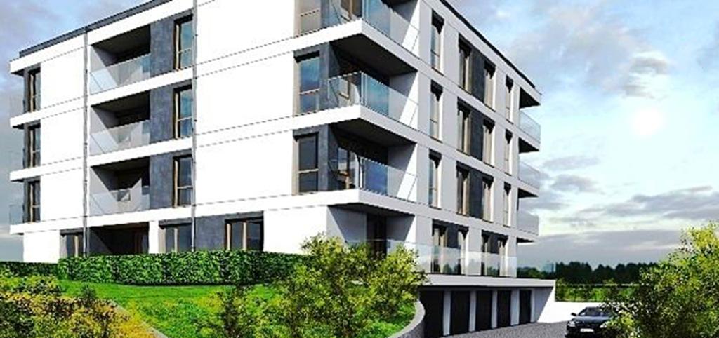 na zdjęciu widok z zewnątrz na apartamentowiec w okolicy Poznania, w którym znajduje się oferowany na sprzedaż apartament