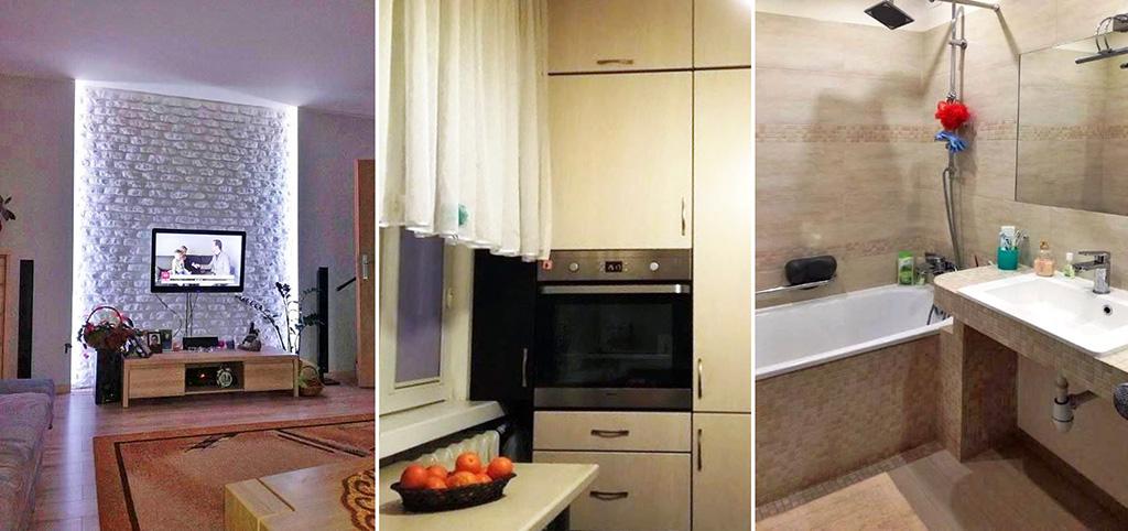 zdjęcie przedstawia fragment salonu, kuchni oraz łazienki w ekskluzywnym apartamencie do sprzedaży w Białymstoku