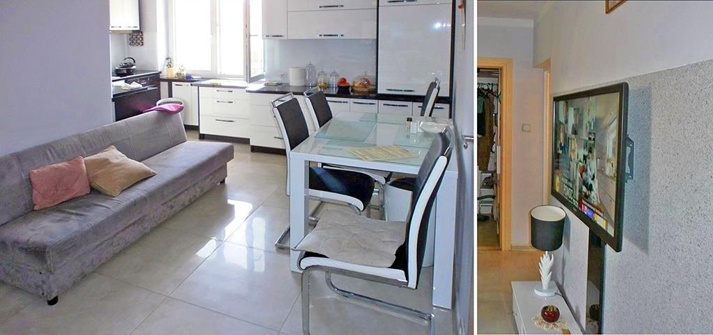 na zdjęciu fragment salonu oraz aneksu kuchennego w luksusowym apartamencie na sprzedaż w Częstochowie