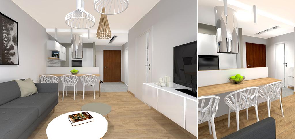 na zdjęciu nowoczesne wnętrze luksusowego apartamentu na wynajem w Katowicach