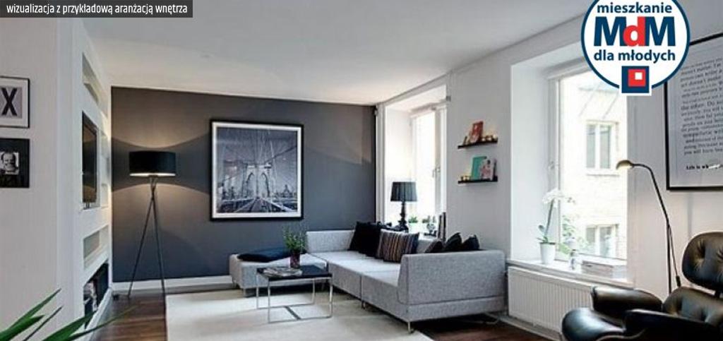 zdjęcie prezentuje wizualizację z przykładową aranżacją wnętrze ekskluzywnego apartamentu do sprzedaży w Legnicy