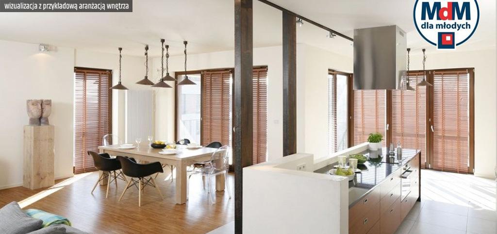 na zdjęciu wizualizacja z przykładową aranżacją wnętrza luksusowego apartamentu w Legnicy na sprzedaż
