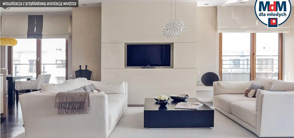 zdjęcie prezentuje wizualizację przykładowej aranżacji luksusowego apartamentu do sprzedaży w Legnicy