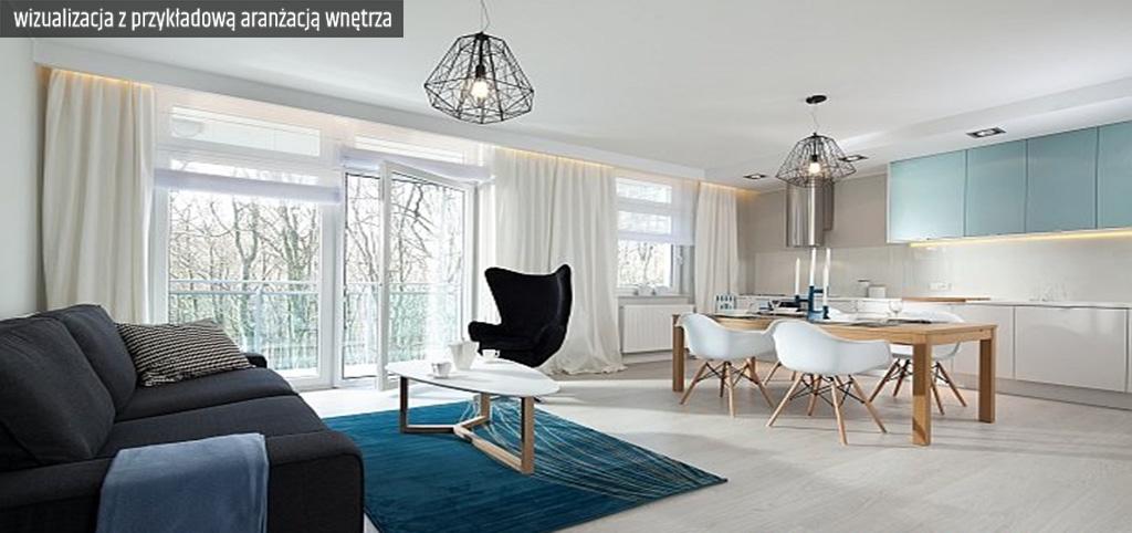 zdjęcie przedstawia wizualizację z przykładową aranżacją wnętrza luksusowego apartamentu na sprzedaż w Legnicy