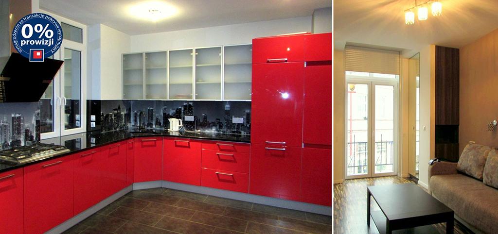 zdjęcie prezentuje kuchnię oraz fragment salonu w apartamencie do wynajęcia w Rzeszowie