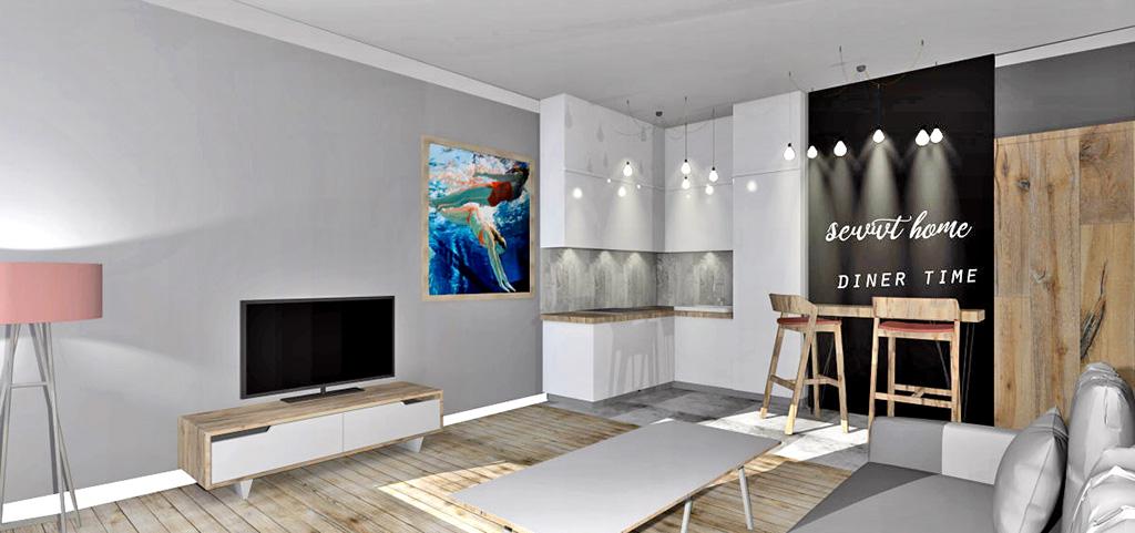zdjęcie przedstawia widok z salonu na aneks kuchenny w luksusowym apartamencie do sprzedaży w Szczecinie