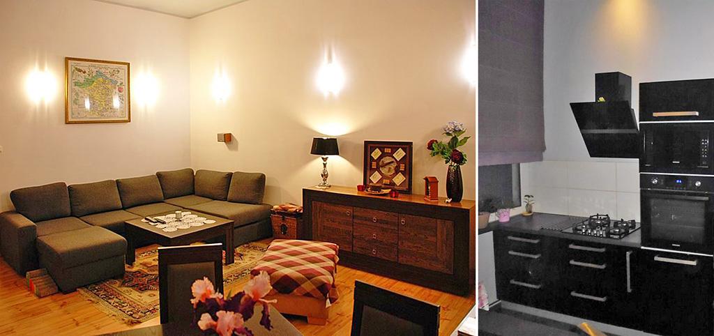 na zdjęciu salon oraz fragment aneksu kuchennego w luksusowym apartamencie do sprzedaży w Szczecinie