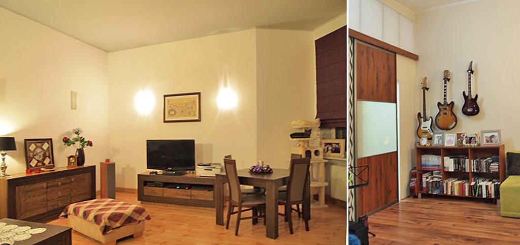 na zdjęciu salon oraz jeden z pokoi w luksusowym apartamencie do sprzedaży w Szczecinie