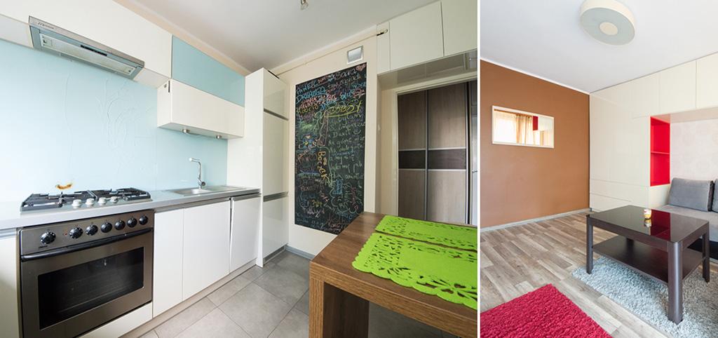 zdjęcie przedstawia luksusowo urządzony aneks kuchenny oraz salon w apartamencie do sprzedaży w Szczecinie