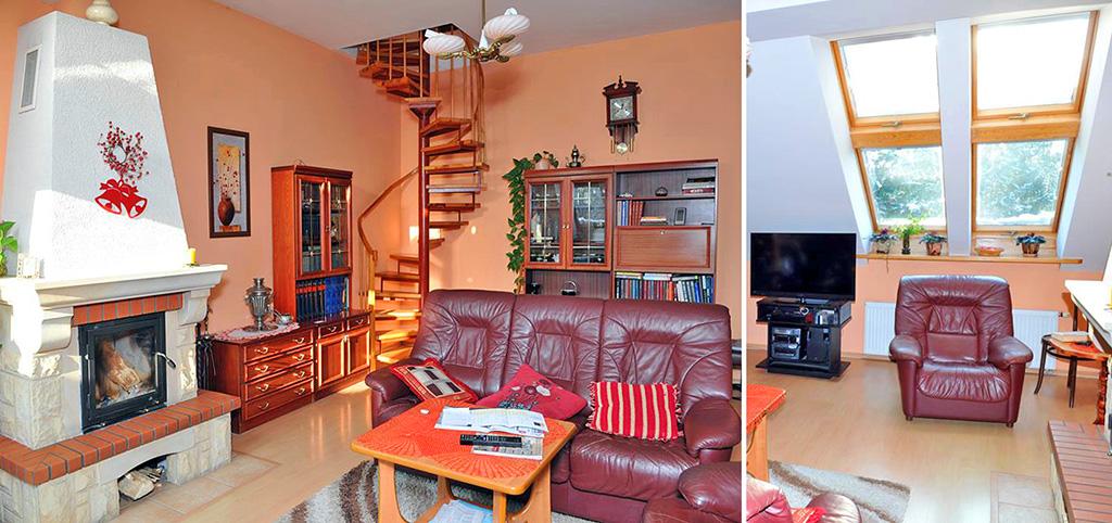zdjęcie przedstawia ekskluzywny salon z kominkiem w luksusowej willi na sprzedaż w Szczecinie