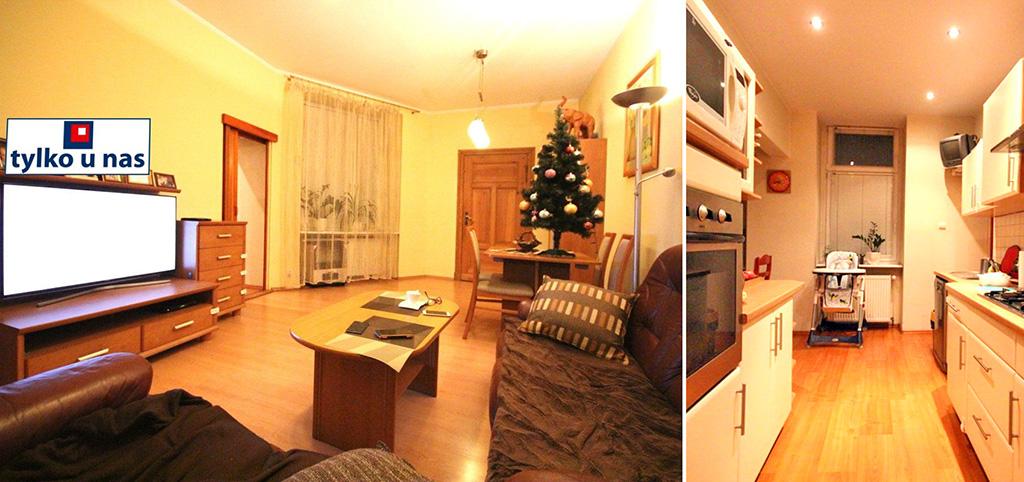 zdjęcie przedstawia salon oraz fragment aneksu kuchennego w apartamencie do sprzedaży w Szczecinie