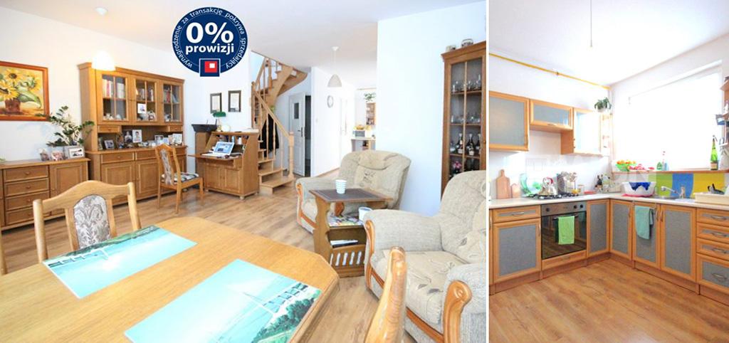zdjęcie prezentuje salon oraz fragment aneksu kuchennego w apartamencie do sprzedaży w Szczecinie