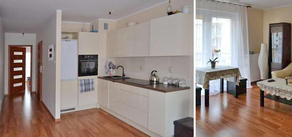 na zdjęciu fragment ekskluzywnego salonu oraz aneks kuchenny w luksusowym apartamencie do wynajęcia w Szczecinie
